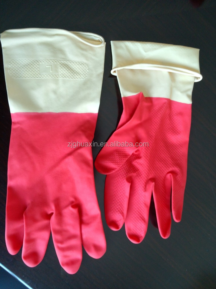 orange Household Long Cuff Latex Gloves