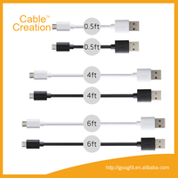 0.5ft,4ft,6ft 6 Pack Premium Micro USB Cable Set Charge Data Cable external camera for andriod