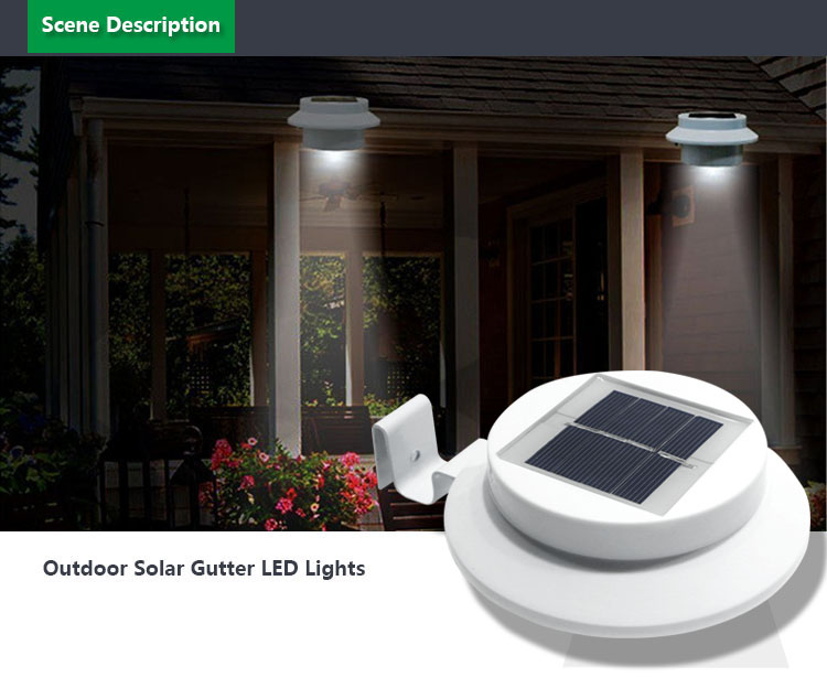 HH24G cheap solar light powered outdoor garden yard wall led gutter fence lamp