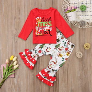 Hot sale Girl's Christmas boutique Outfit Toddler Personalized Ruffled Christmas Clothes baby girl winter clothes