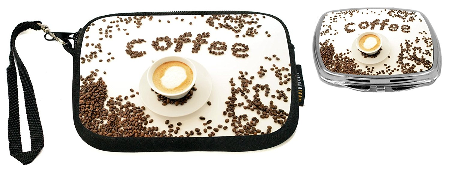 """Rikki Knight Coffee Beans""""Coffee"""" Design Neoprene Clutch Wristlet with Matching Square Compact Mirror"""