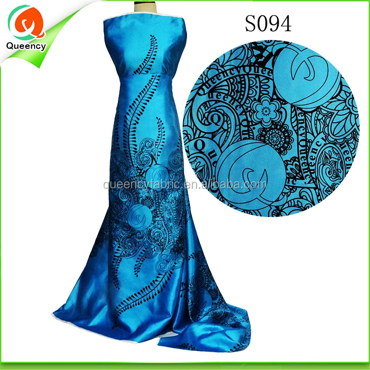 S094 Queency High Quality Elastic Cotton Poly Printed Satin Fabric 5 Yards for Dress Making