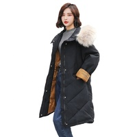 New Arrival 2019 winter coat women with big fur collar warm long style winter cotton jacket wholesale price high quality parka