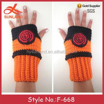 F-668 Neue Großhandel Häkeln Naruto Stricken Fingerlose Handschuhe ...