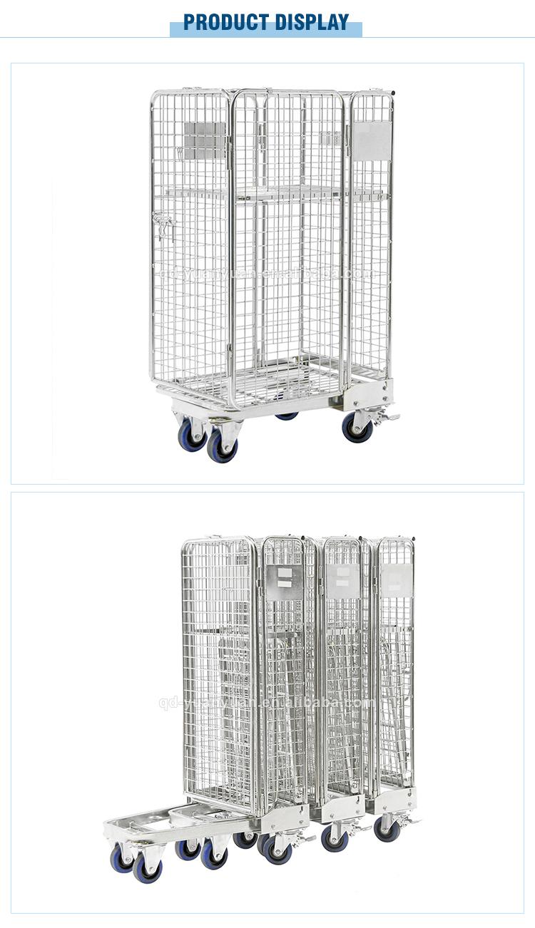 Robuste en acier galvanisé treillis métallique en métal empilable pliable chariot de sécurité logistique conteneur à cage roulante