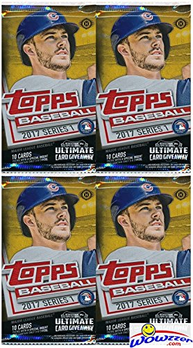 2017 Topps Series 1 MLB Baseball Lot of FOUR(4) Factory Sealed HOBBY Foil Packs with 40 Cards! Brand New! Every Pack includes an Insert or Parallel Card! Look for Autograph and Relic Cards! Wowzzer!