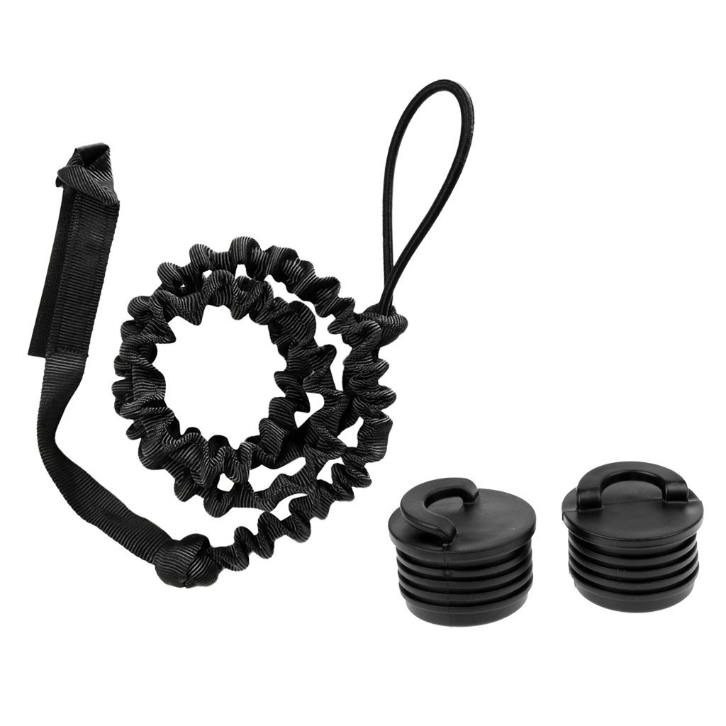 Dovewill 2 Pieces Black Kayak Canoe Scupper Stopper Plug Bung + 6.6ft Elastic Paddle Leash Safety Rod Holder Lanyard Tether Accessories for Marine Boat Fishing