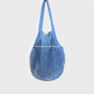 Source factory wholesale ECO friendly crochet net shopping bag, hand knitted market handbag, raffia jute straw mesh tote bag