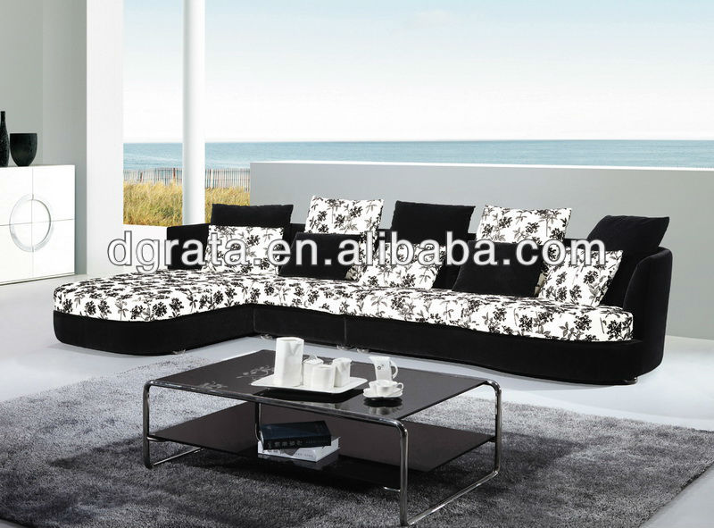 2013 Nice black and white printing flower sofa was made from metal leg and high density sponge and fabric