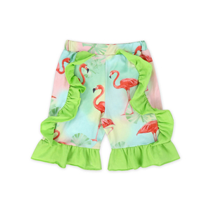 Fashion Baby Girls Clothing Set Litter Girl Kids Ruffle Flamingo Printing Clothes +pant Outfits