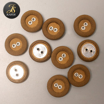 New design flat fabric button double button with eyelets for coat