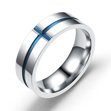 Wholesale Fashion Stainless Steel Cross Blue Smooth Rings For Men