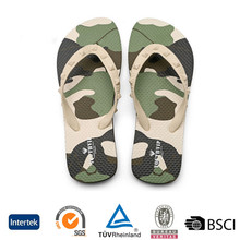 2017 wholesale custom fashion cheap camo pe sole promotion beach slippers printed pvc men flip flops