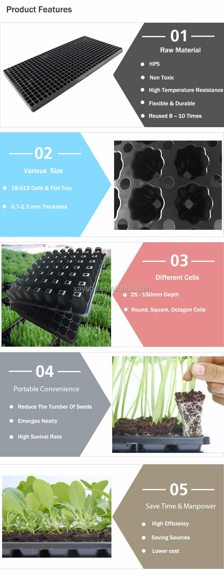 hot sale black plastic seedlings cassette square cell tray for vegetables
