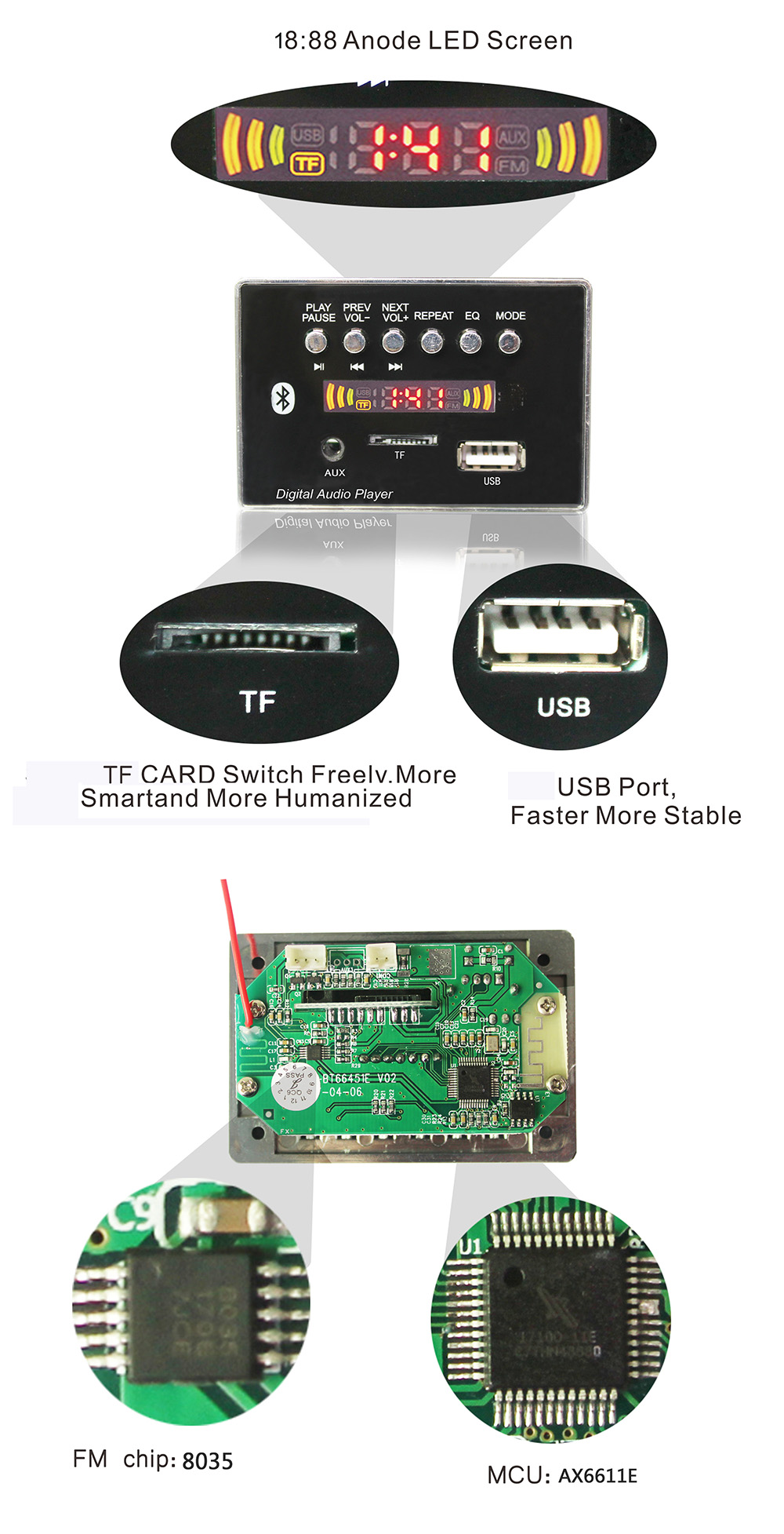 Dancing Screen Led Pcb Pcba Prototype Tf Audio Mp3 Player Module Usb What Is An Integrated Circuit 18 Board