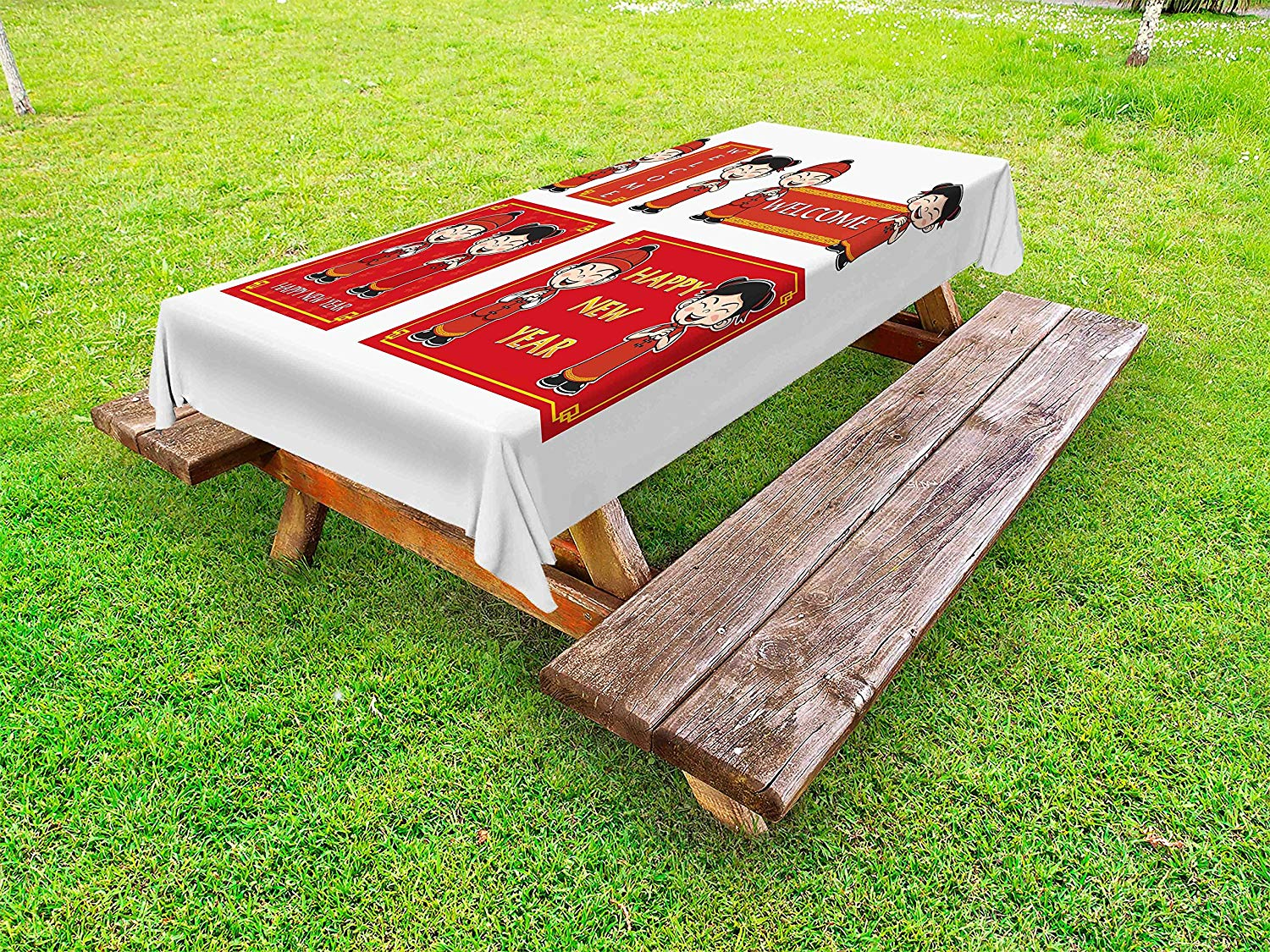 Ambesonne Chinese New Year Outdoor Tablecloth, Happy Wishes and Greeting with Little Boys Girls Joyful Lunar Festival, Decorative Washable Picnic Table Cloth, 58 X 104 inches, Multicolor