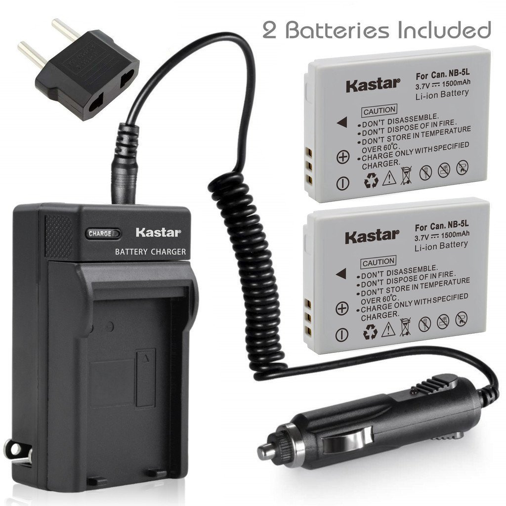 Kastar Battery (X2) & AC Travel Charger for Canon NB-5L and Powershot S100 S110 SX230 HS SX210 IS SD790 IS SX200 IS SD800 IS SD850 IS SD870 IS SD700 IS SD880 IS SD950 IS SD890 IS SD970 IS SD990 IS