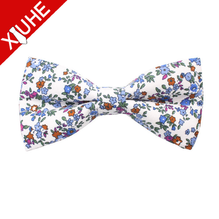 Blue Colorful Flower Floral Cotton Printed Man Male Boys Youth Bowtie