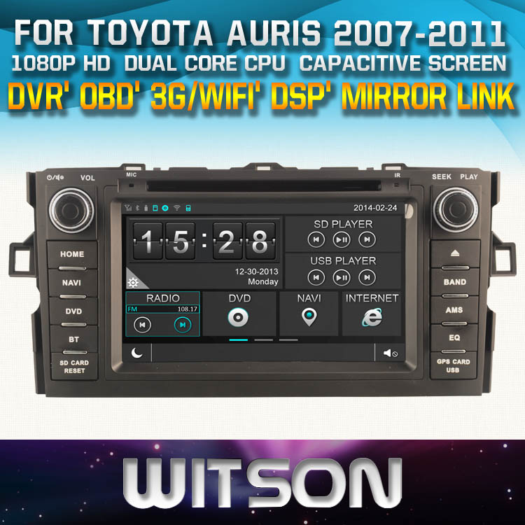 WITSON <strong>CAR</strong> DVD FOR <strong>TOYOTA</strong> AURIS 2007-2011 WITH 1080P CAPACITIVE SCREEN WIFI 3G DVR OBD TPMS MIRROR LINK