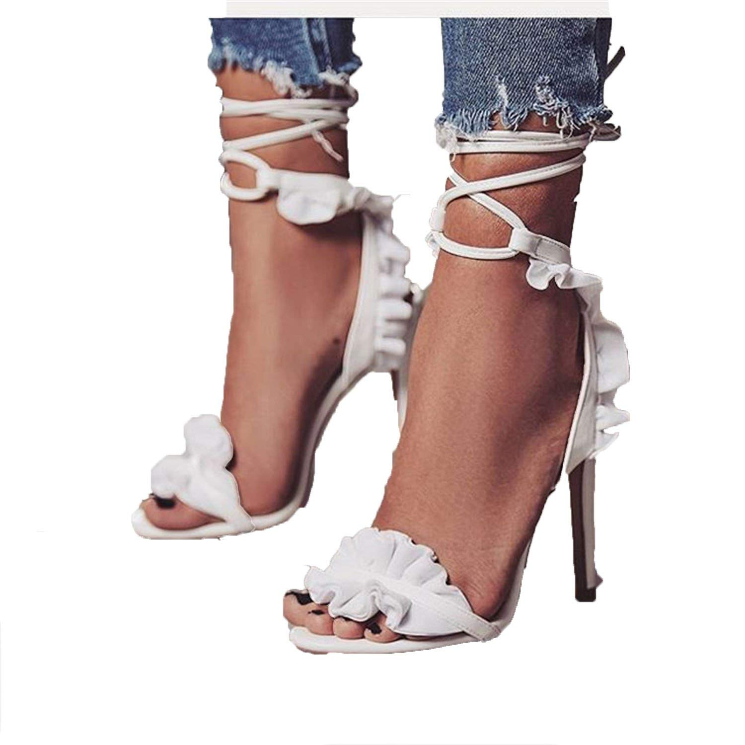b34baa71042d Get Quotations · Romantic moments Gladiator Sandals Women high Heels Sexy  Ankle Party Shoes Strap Ruffles Ladies Thin Heel
