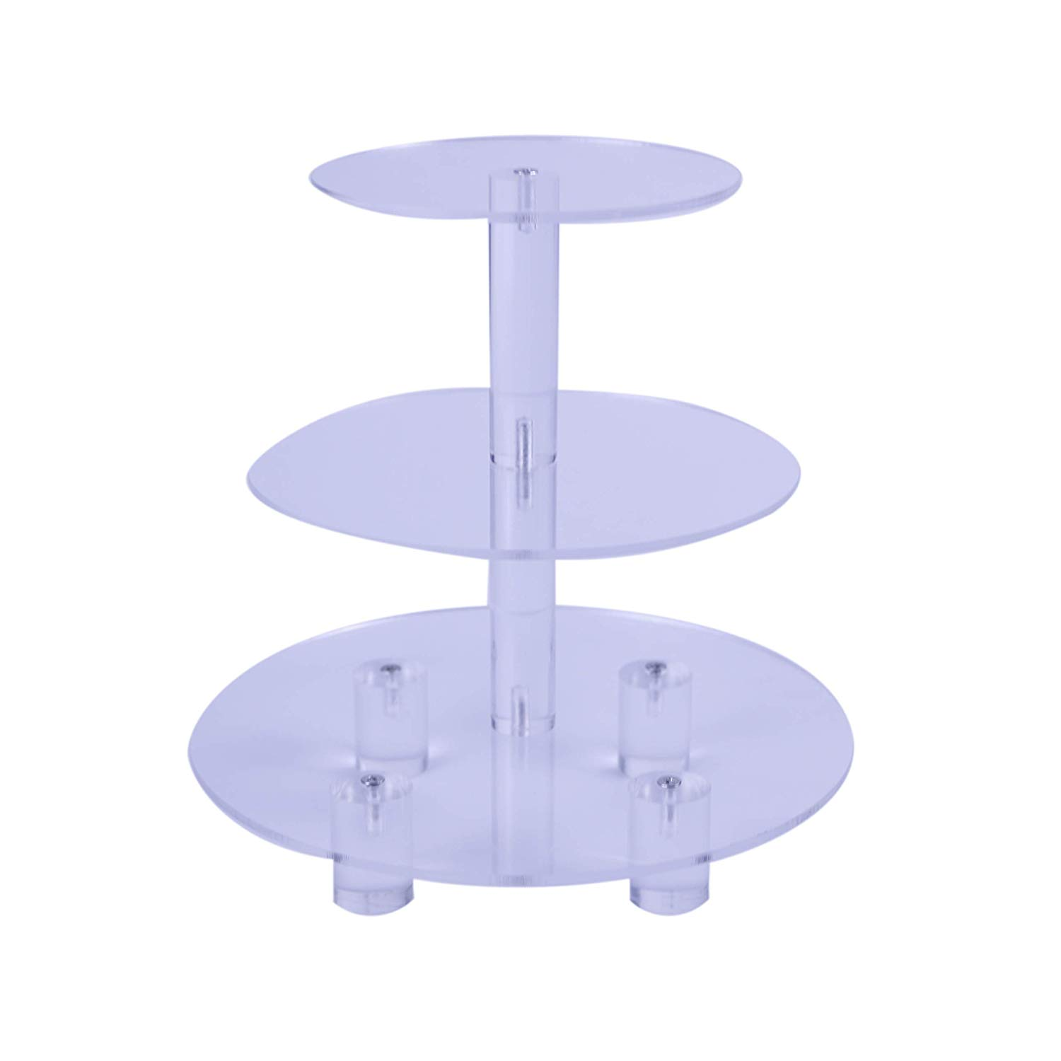 """VONTERP Round 3 Tiers Acrylic Cupcake Stand Clear Wedding Cupcake Display Stand (with Base) (3 Tier Round with Base (3.9"""" Layer spacing)"""