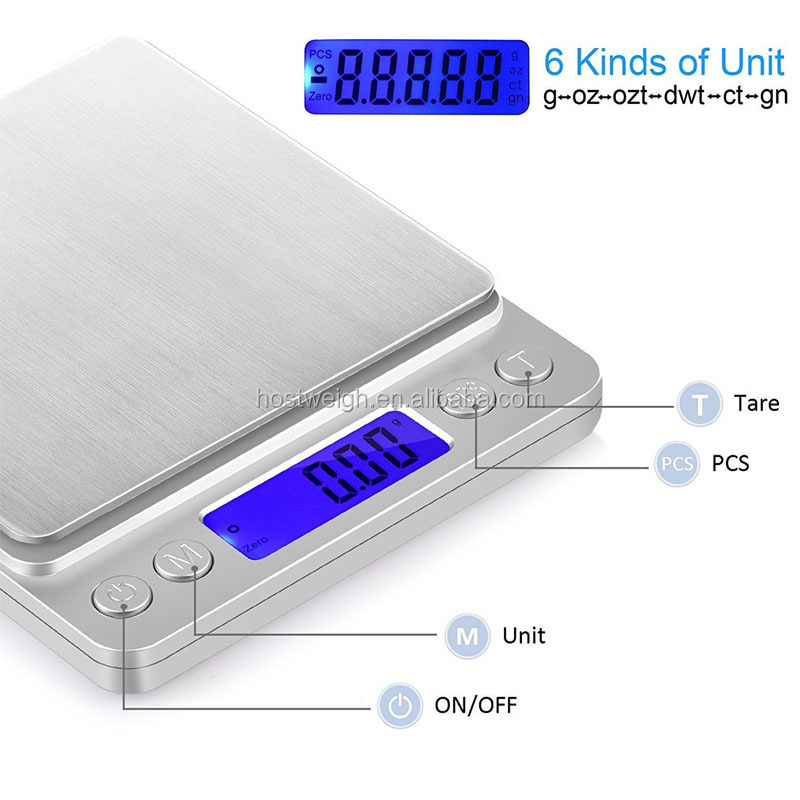 3kg X 0.1g Pocket Digital Balance Weight Jewelry Kitchen Scale With Tray Silver Electronic Kitchen scale