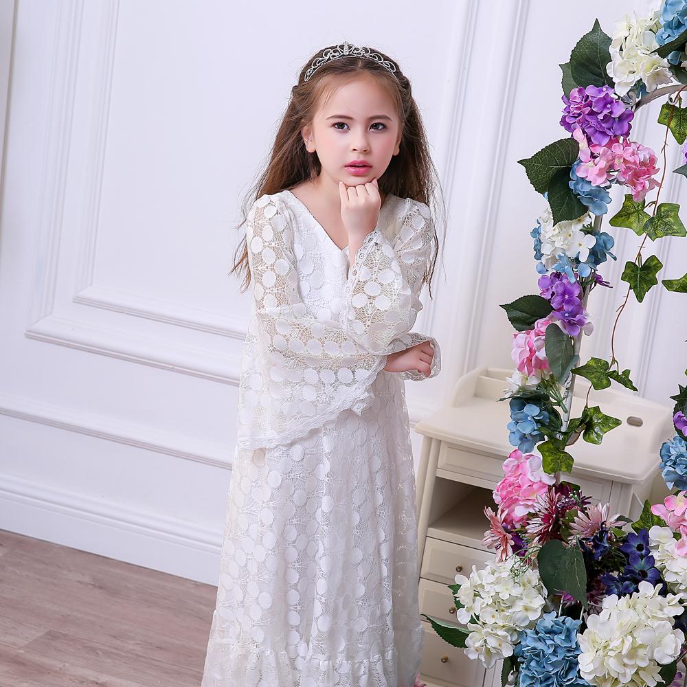 75d50646d34 Элегантный белый тюль цветок девочки платья для свадеб Кружева Пол длинное  детское бальное платье новое нарядное