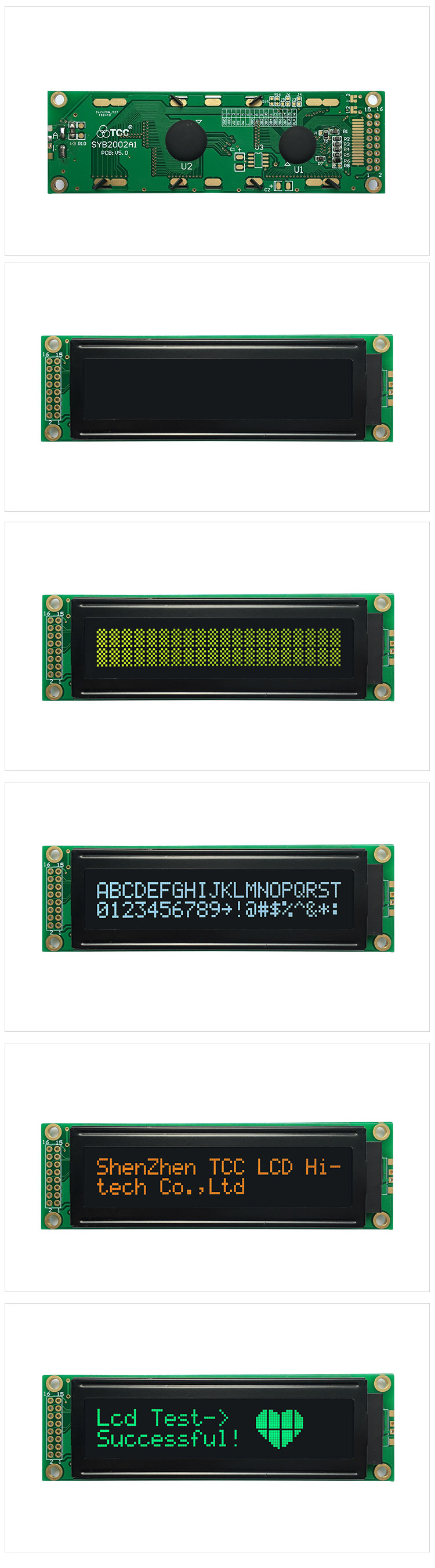 TCC(2002A1V50) custom alphanumeric display module 6800 4/8-bit parallel SPI 3/4-wire I2C serial screen stn character lcd 20x2