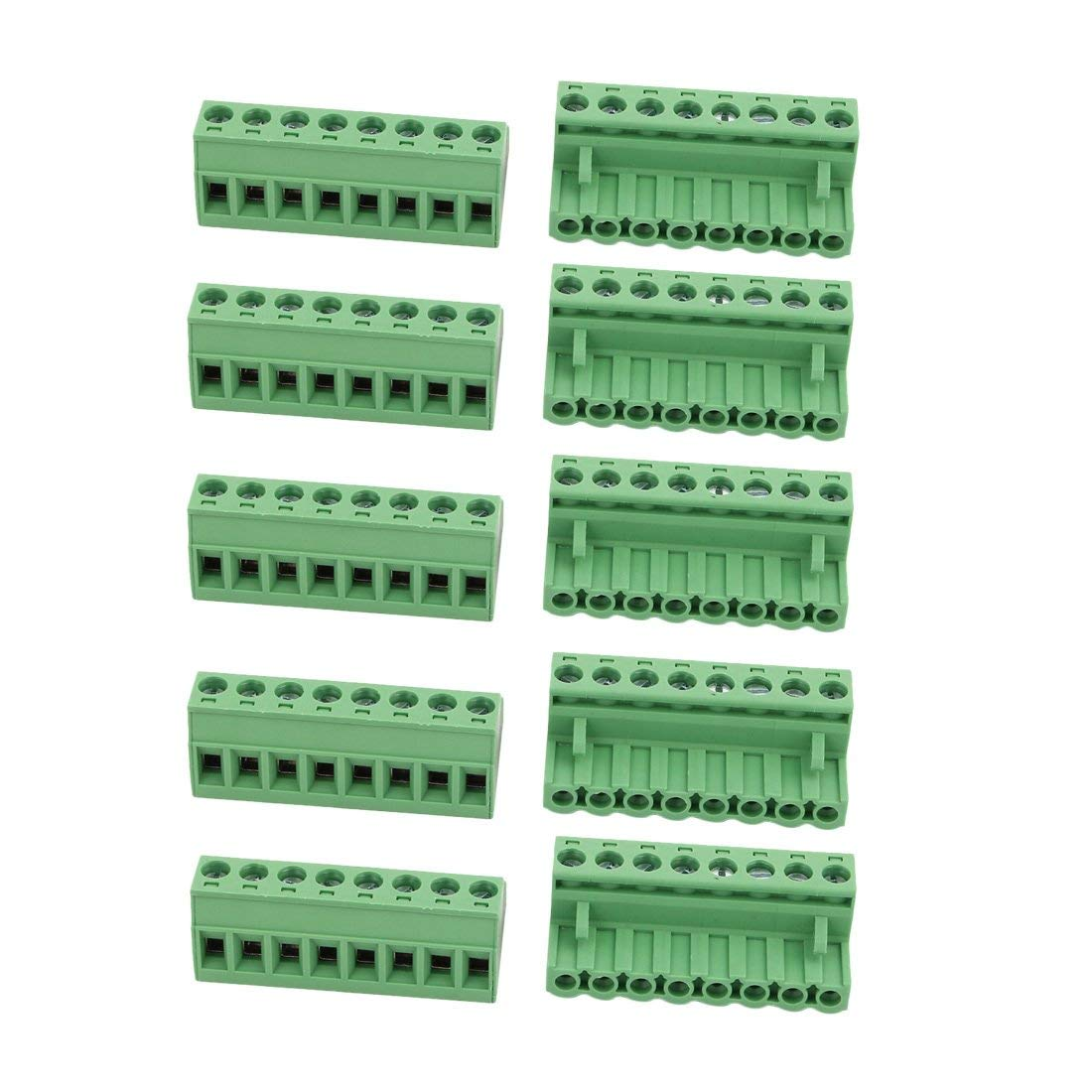 uxcell 10Pcs AC 300V 15A 5.08mm Pitch 8P Terminal Block Wire Connection for PCB Mounting