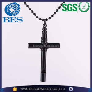 Punk Personality Rock Bamboo Whistle Shape Pendant Necklace of Cross Necklace