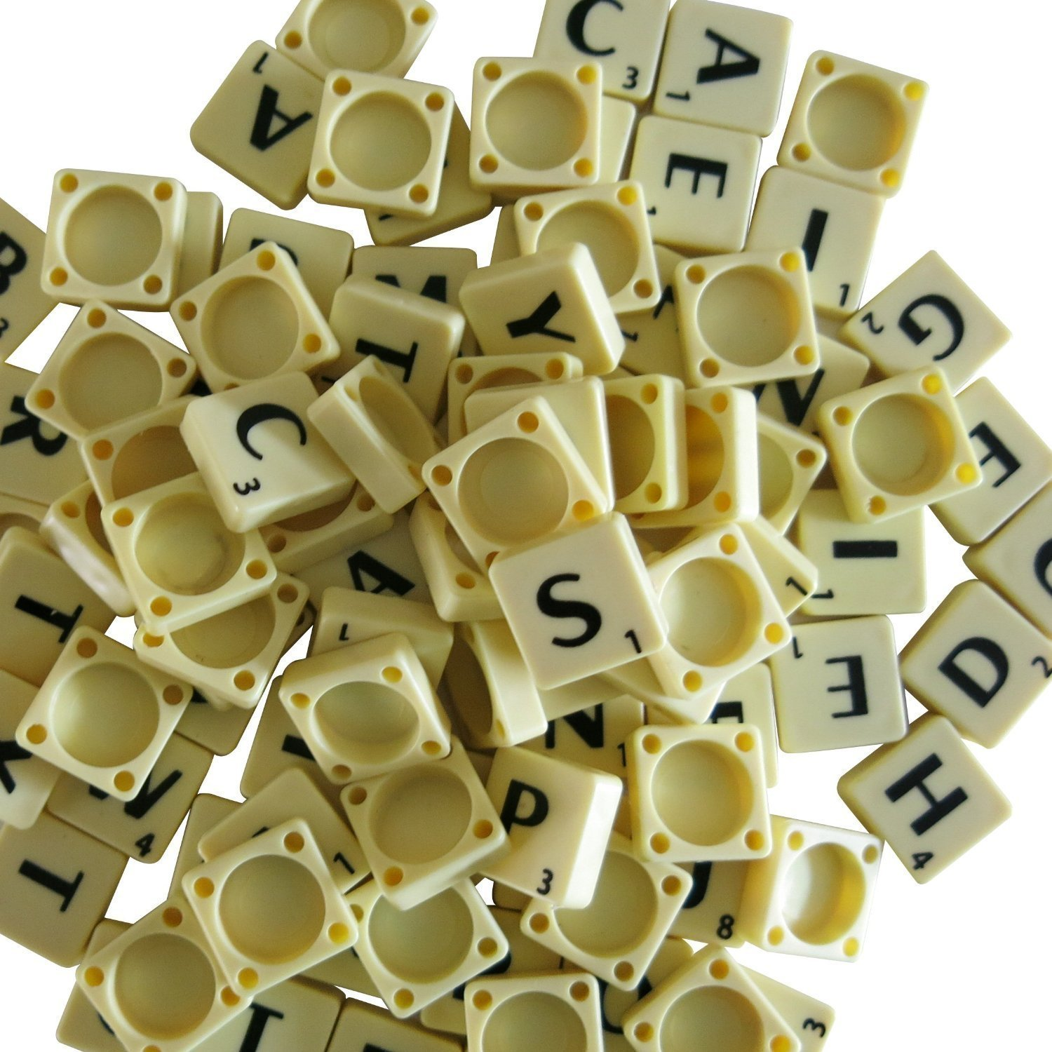 Generic Full Set Of Scrabble Tiles (100 Tiles) - Black Letters On Ivory Plastic Tiles - Replacement, Crafts, Scrapbooking And Jewellery