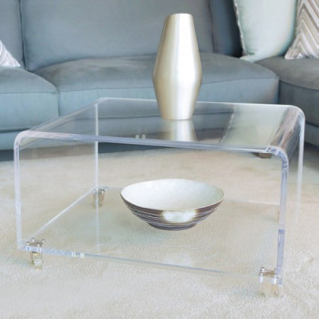 Delicieux Perspex Clear Acrylic Coffee Table With Wheels