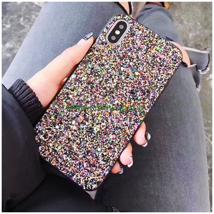 Colorful Glitter Bling Sequins Soft TPU Back Cover Case For iPhone X