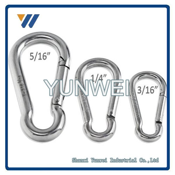 "ODM High Quality ISO9001 Stainless Steel Spring Snap Hook Carabiner 3/16"" to 5/16"""