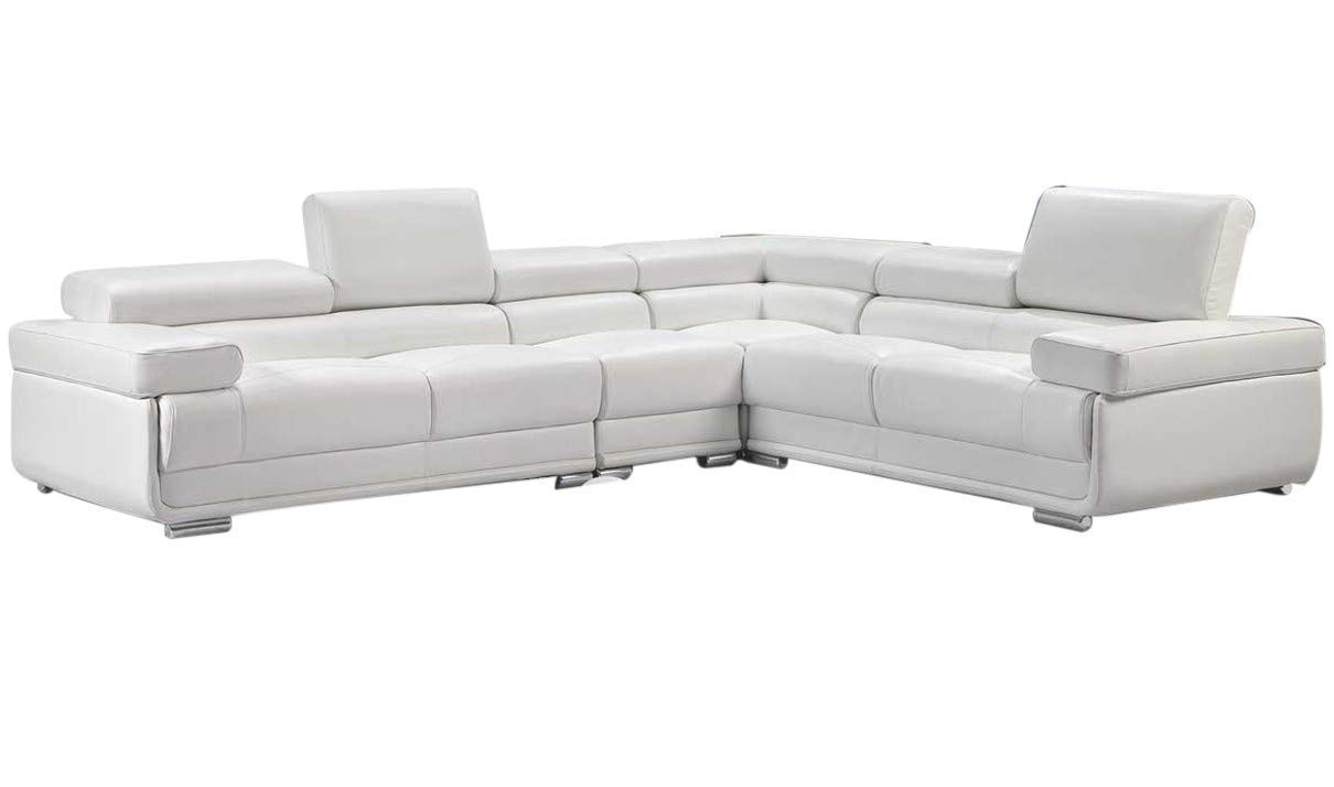 ESF Furniture 2119 Leather Right Hand Facing Sectional Sofa in White