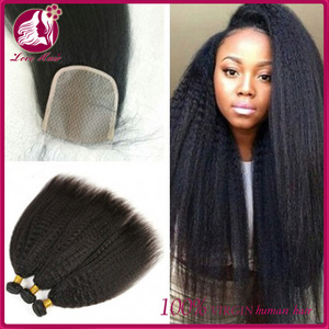 7A Cambodian Kinky Straight Lace Closure Virgin Human Hair Italian Yaki Closure Bleached Knots Free/Middle/3 Part Closures