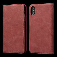 Wallet phone case for iPhone X genuine cow leather mobile phone cover