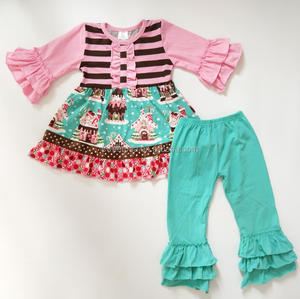 Wholesale Christmas Cottotn Boutique clothing outfit for baby girls with ruffle pants fall winter clothing