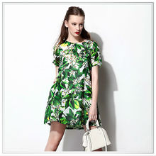 2015 Top Quality Digital Printed Rayon Fabric Flower Green Leaf Dress Customized Innovative Design