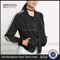MGOO New Arrival Black 100% Polyester Bomber Jackets Black Crop Long Sleeves Tops Coat Sports Women Jackets