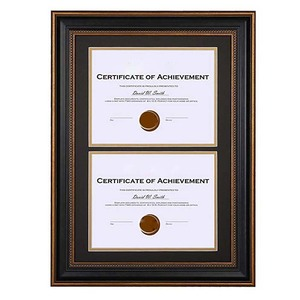 14x20 Ornate Gold Black Design Double Certificate Frame Two 8.5x11 Inch Certificates and Diplomas