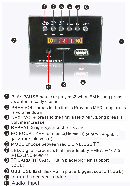 Usb Sd Tf Fm Mp3 Player Radio Kit Buy Vtf108 Circuit Sound Voice Recording Module