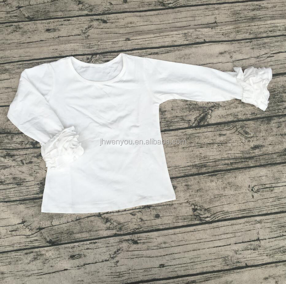 Custom blank children plain clothing simple cotton t shirt designs solid color icing shirts baby girls white tops