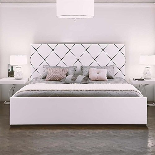 DHP Hollywood Premium Faux Leather Upholstered King Bed in White