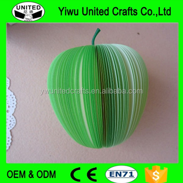 Top quality green apple shaped magnetic memo pad , fruit shape memo pad , fancy personalized memo pad