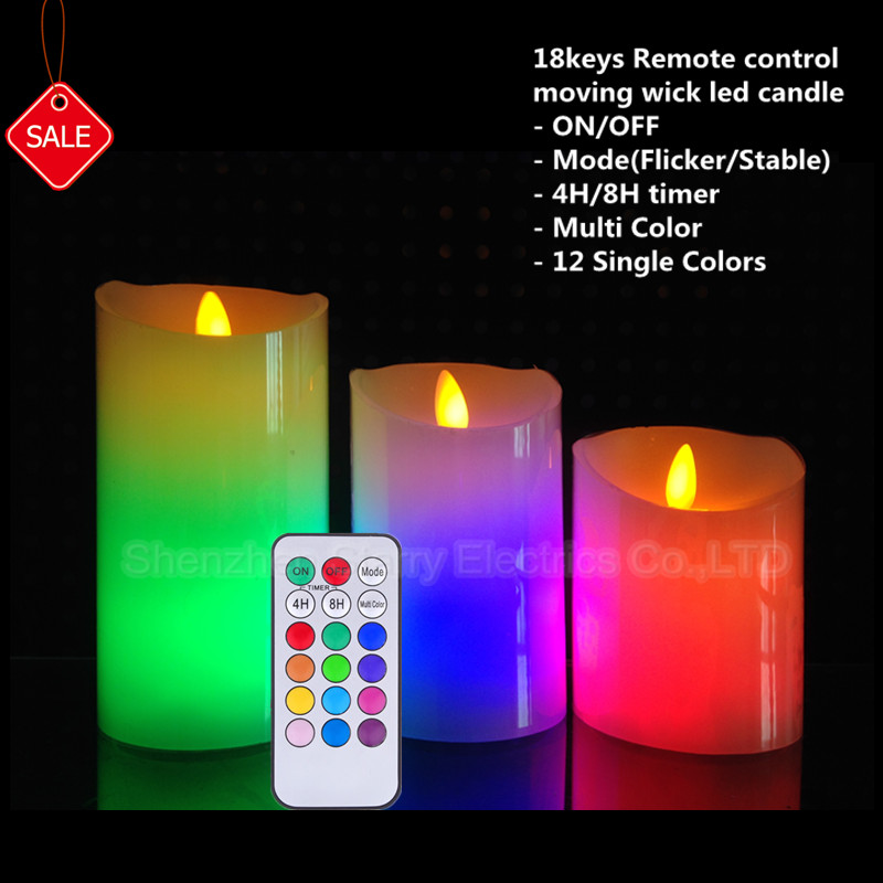 hot selling remote control dancing flame color changing wax candle