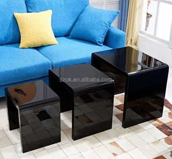 Modern Acrylic Stackable Nesting End Side Tables Stool