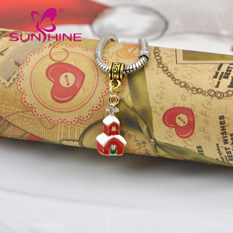 Sunshine new Christmas houses alloy jewelry accessory for bracelets and pendants