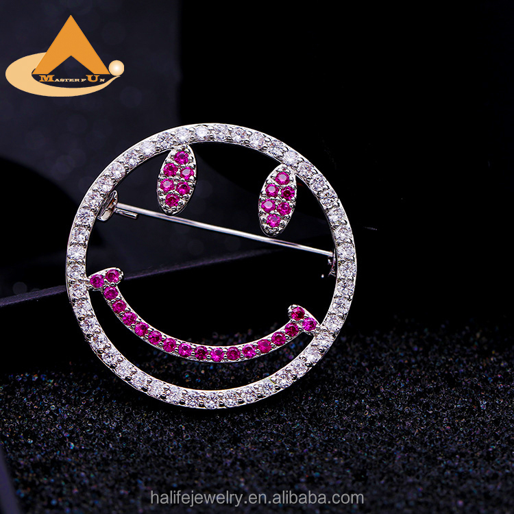 Smile Emoji Zirconia Brooch Pins,2018 Latest Metal Jewelry High Quality Fashion Designer Celtic Brooch