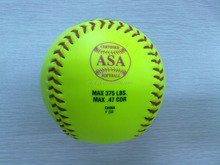 "12"" optic yellow leather slow pitch softball with cor.40 .44 .47 .50 .52 compression 375 650"